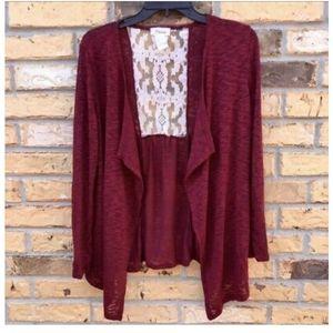 🎀Starlet Long Sleeve Burgundy Lace Cardigan